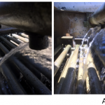 Spray nozzles blocked - before and after 1
